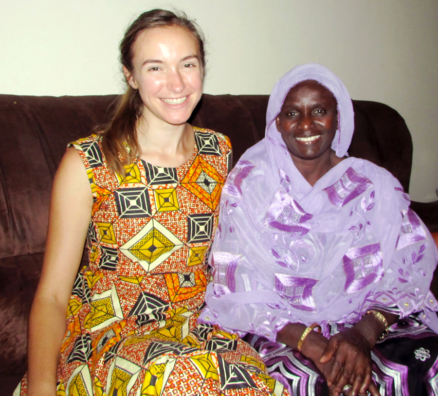 Olivia Hoffman with her host mother in Senegal