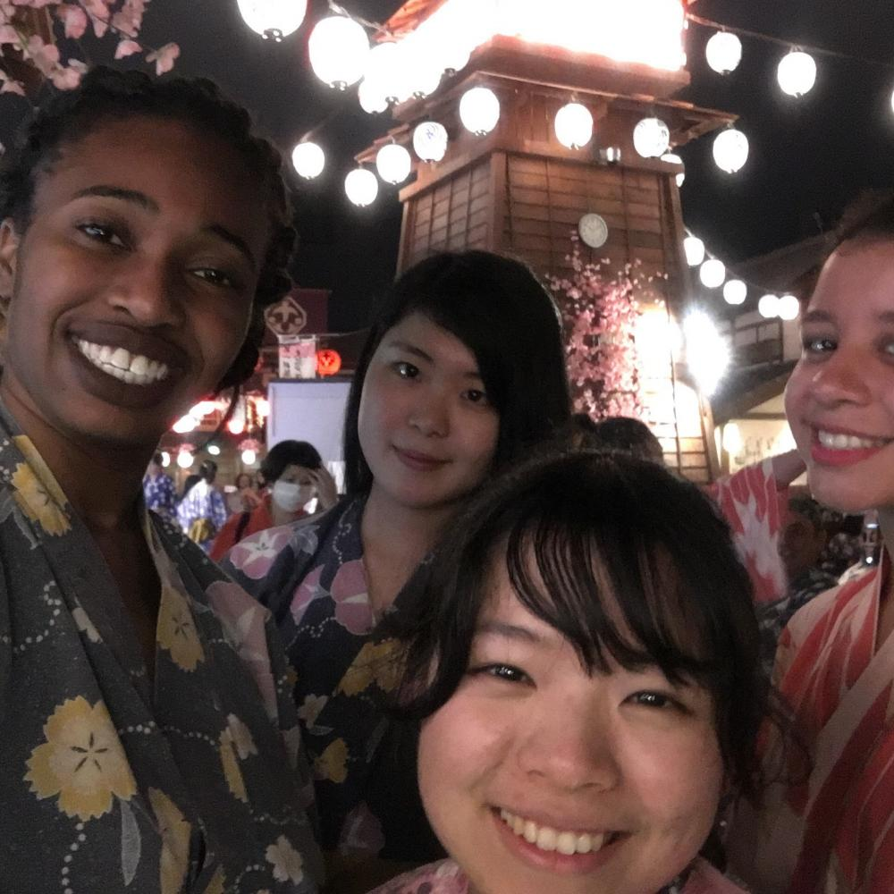 Etinosa with new friends in Japan