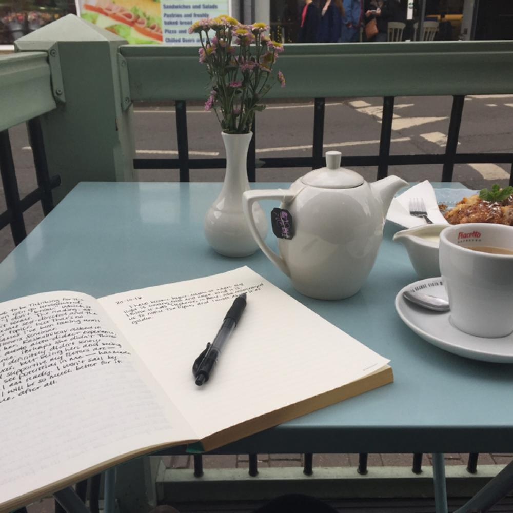 Journal writing during afternoon tea